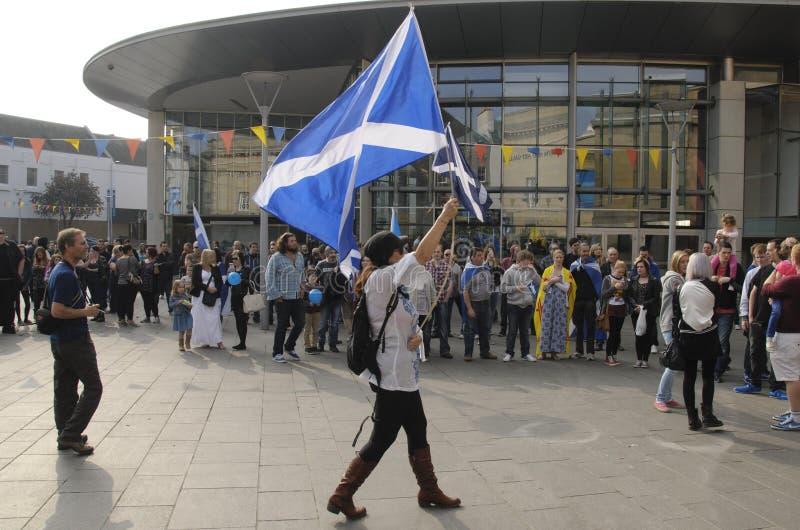 岗位苏格兰人Indy Ref演示珀斯苏格兰英国2014年 库存图片