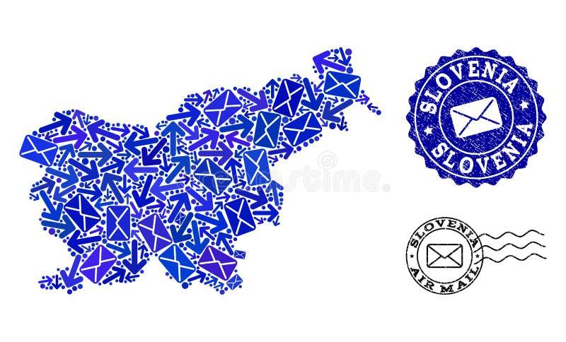 岗位路结构的斯洛文尼亚和织地不很细封印军用镶嵌地图  皇族释放例证