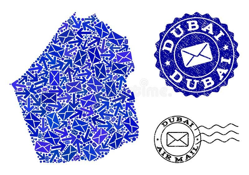 岗位迪拜酋长管辖区和难看的东西封印军用镶嵌地图行动拼贴画  皇族释放例证