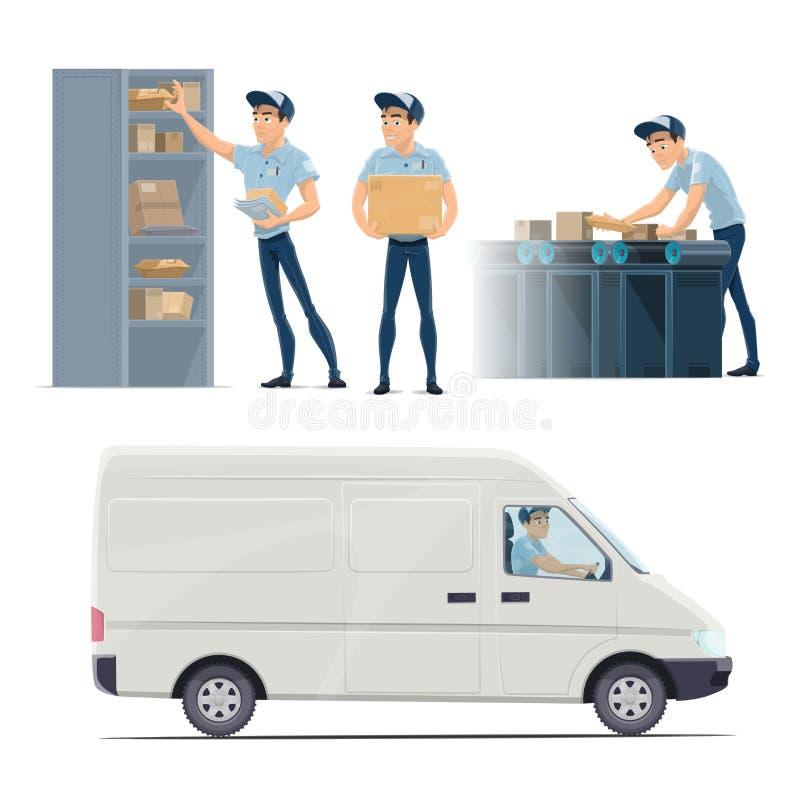 岗位邮政服务与邮差的传染媒介象 库存例证