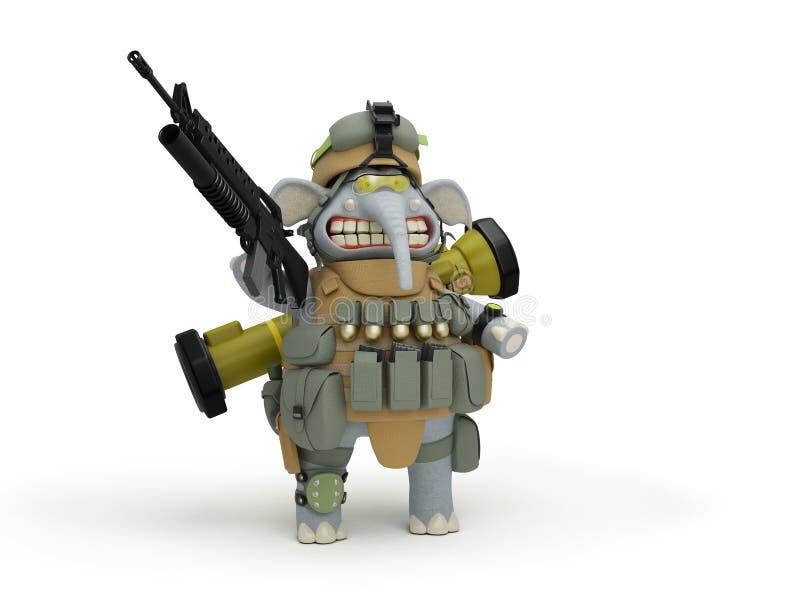 岗位3D例证的逗人喜爱的大象步兵 库存例证
