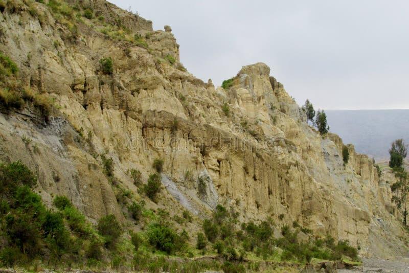岩层瓦尔de在拉巴斯附近的las Animas在玻利维亚 免版税库存图片