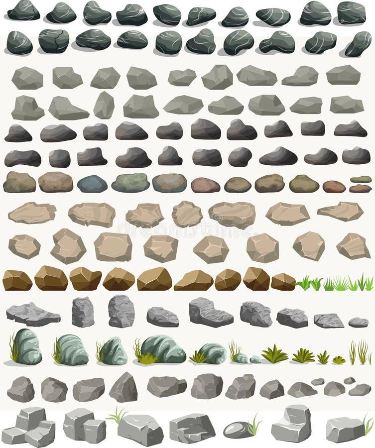 岩石与草动画片的石头集合在平的样式 ?? 皇族释放例证