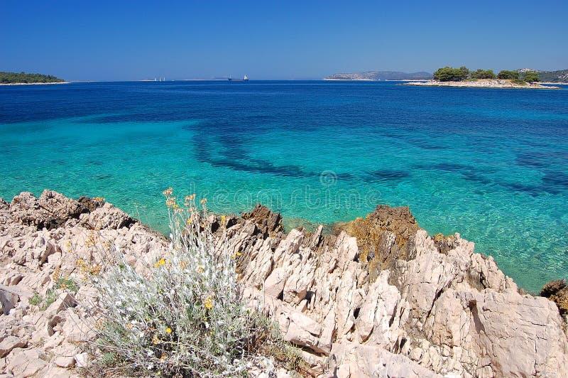 岩石亚得里亚海的海滩 免版税库存照片