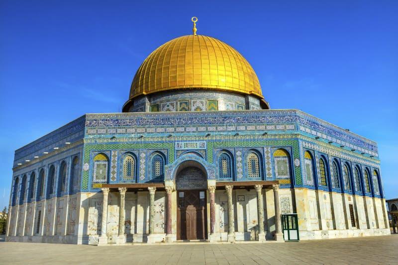 岩石伊斯兰教的清真寺圣殿山耶路撒冷以色列的圆顶 免版税库存图片