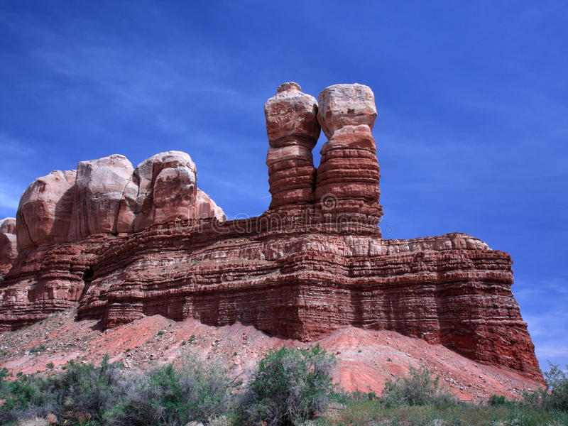 岩石双胞胎犹他 图库摄影
