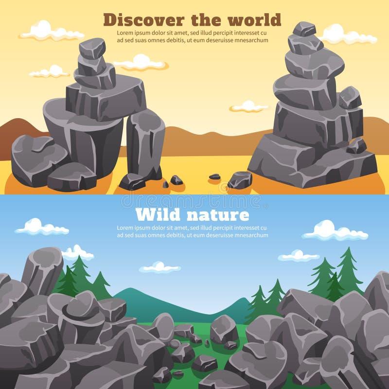 岩石和石头水平的横幅 库存例证