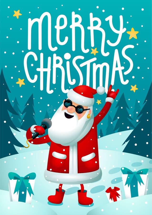 岩石圣诞老人 唱歌的圣诞老人-与话筒的摇滚明星在黑暗的背景 圣诞节党的行家海报与 向量例证