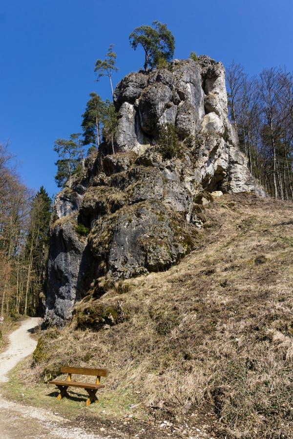岩石在法兰克的瑞士巴伐利亚德国 免版税库存照片