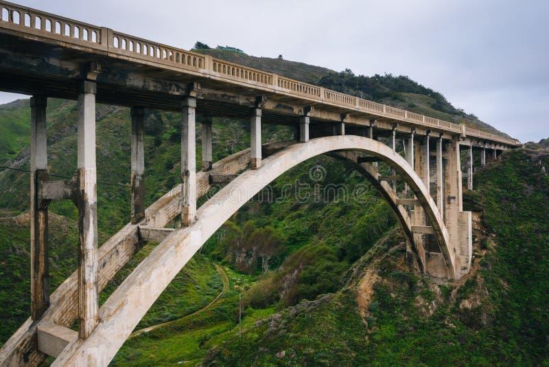 岩石小河桥梁的看法,在大瑟尔,加利福尼亚 库存照片