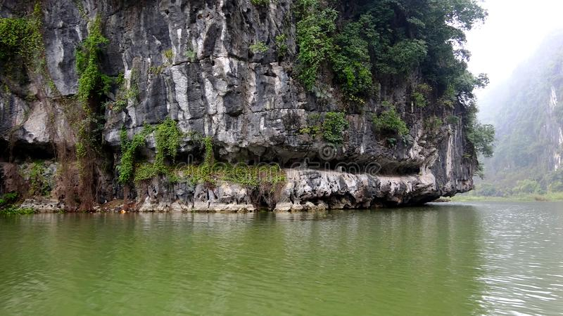 岩石山由树和水腐蚀 免版税库存照片