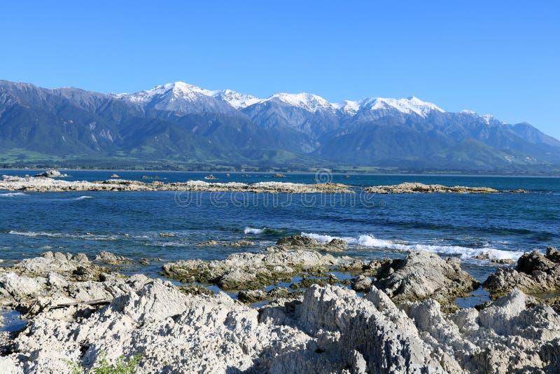 岩石岸海和雪加盖了山Kaikoura 库存图片