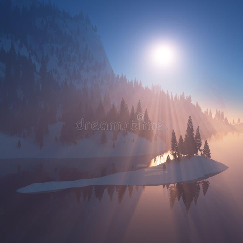 岩石岸的森林在日落 免版税库存照片