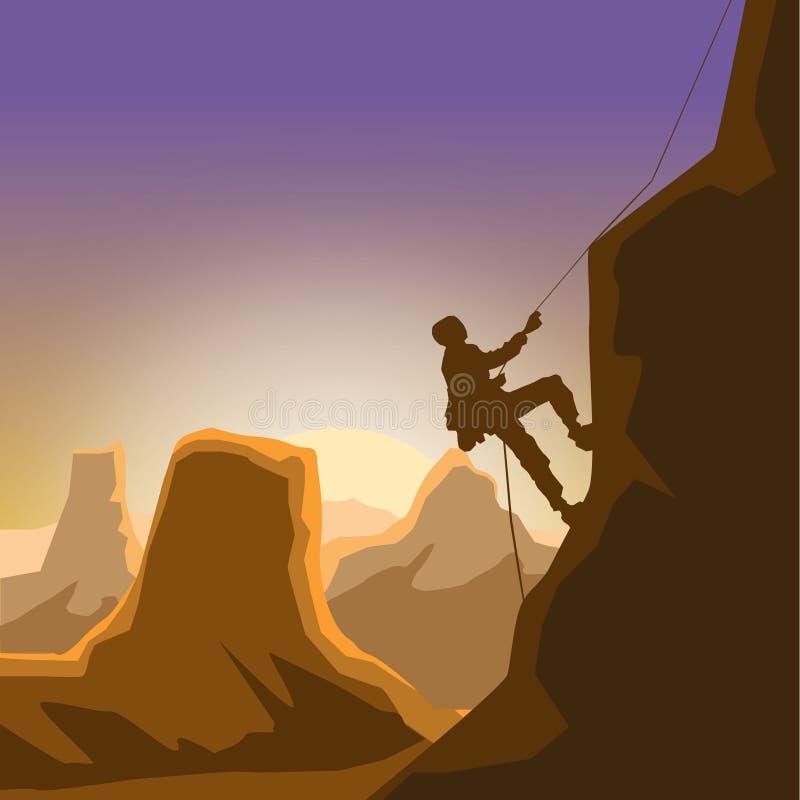 岩石峡谷黎明单独上升登山人的人 皇族释放例证