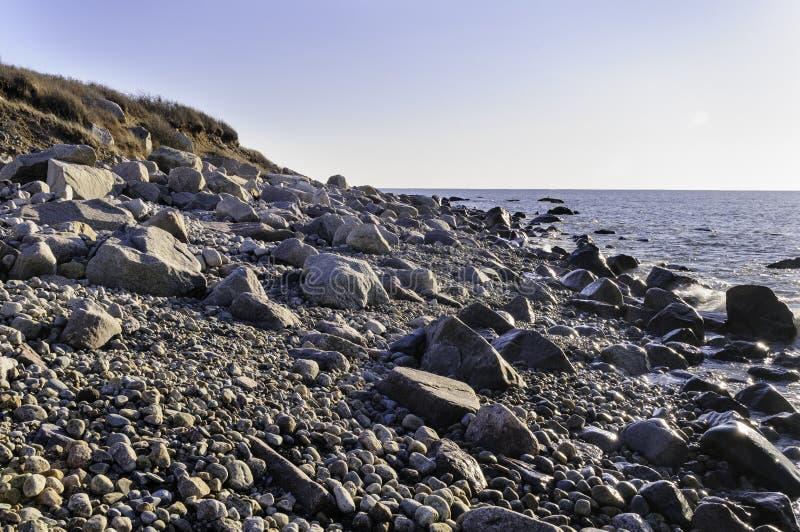岩石新英格兰海滩 免版税库存照片
