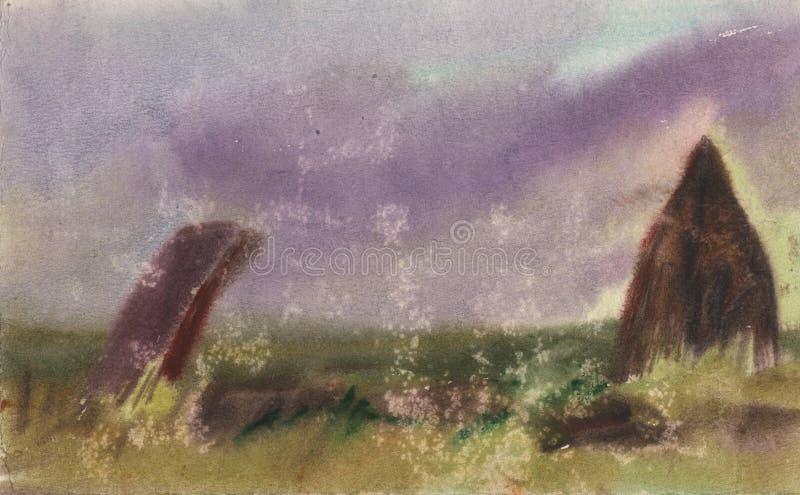 ?? 岩石水彩剪影在日落的 竖石纪念碑,例证 库存照片
