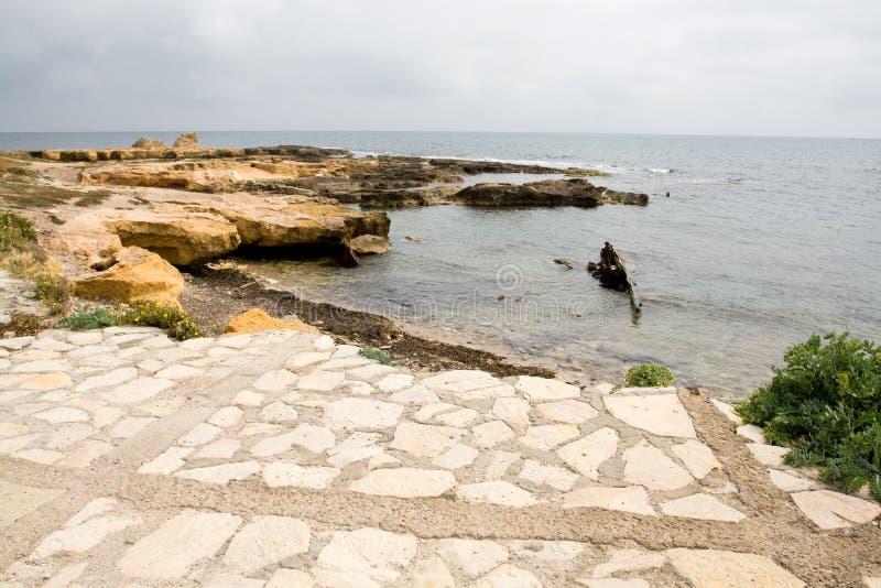 岩石海岸和海在马赫迪耶附近,突尼斯镇  库存照片