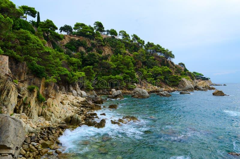 岩石海岸和海,略雷特德马尔,肋前缘Brava,西班牙美丽的景色  免版税库存图片