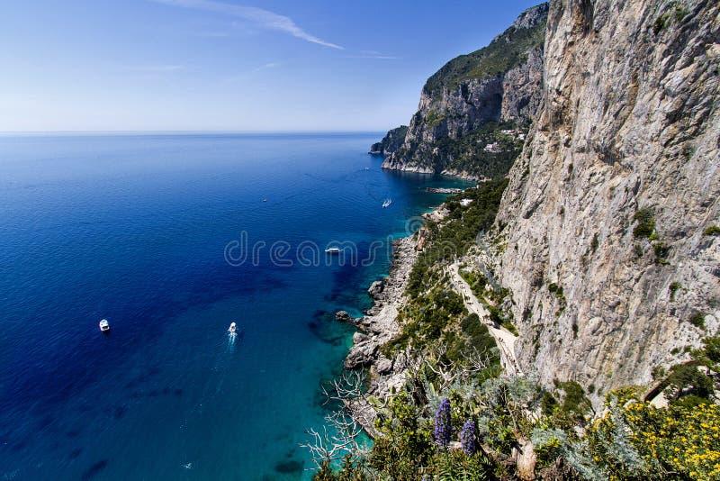 岩石海岸线,卡普里岛海岛(意大利) 库存图片