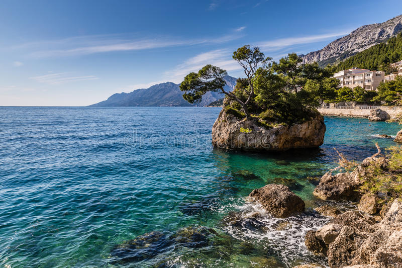 岩石海滨马卡尔斯卡里维埃拉,达尔马提亚,克罗地亚 免版税库存图片