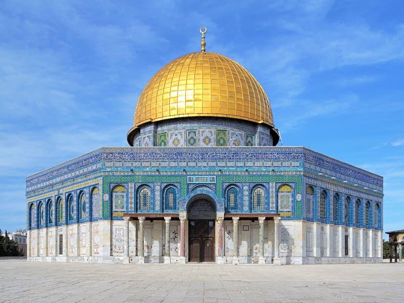 岩石清真寺的圆顶圣殿山的在耶路撒冷 免版税库存照片