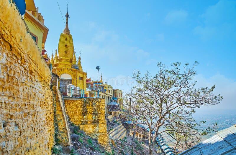 岩石的波帕岛塔翁Kalat修道院,缅甸 库存照片