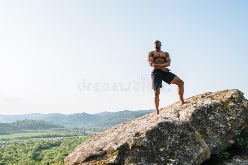 Download 岩石的英俊的黑人非裔美国人的运动员人在山 人体的秀丽和完美 库存图片 - 图片 包括有 爱好健美者, 健身: 72366023