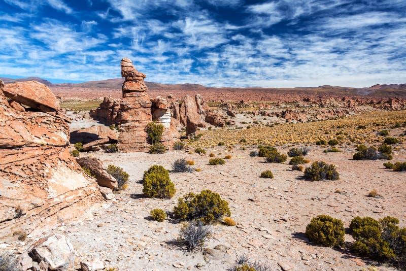 岩石的谷在玻利维亚 图库摄影