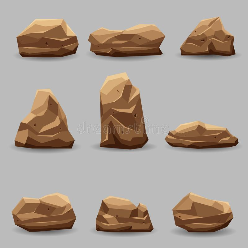 岩石石头集合传染媒介例证收藏 向量例证