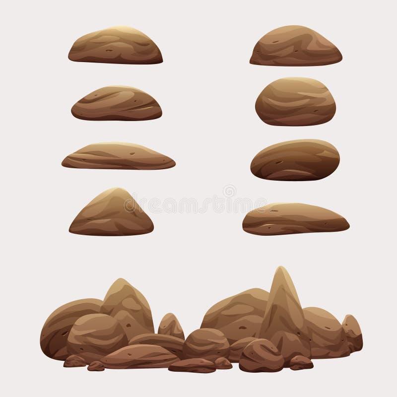 岩石石头集合传染媒介动画片例证收藏 库存例证