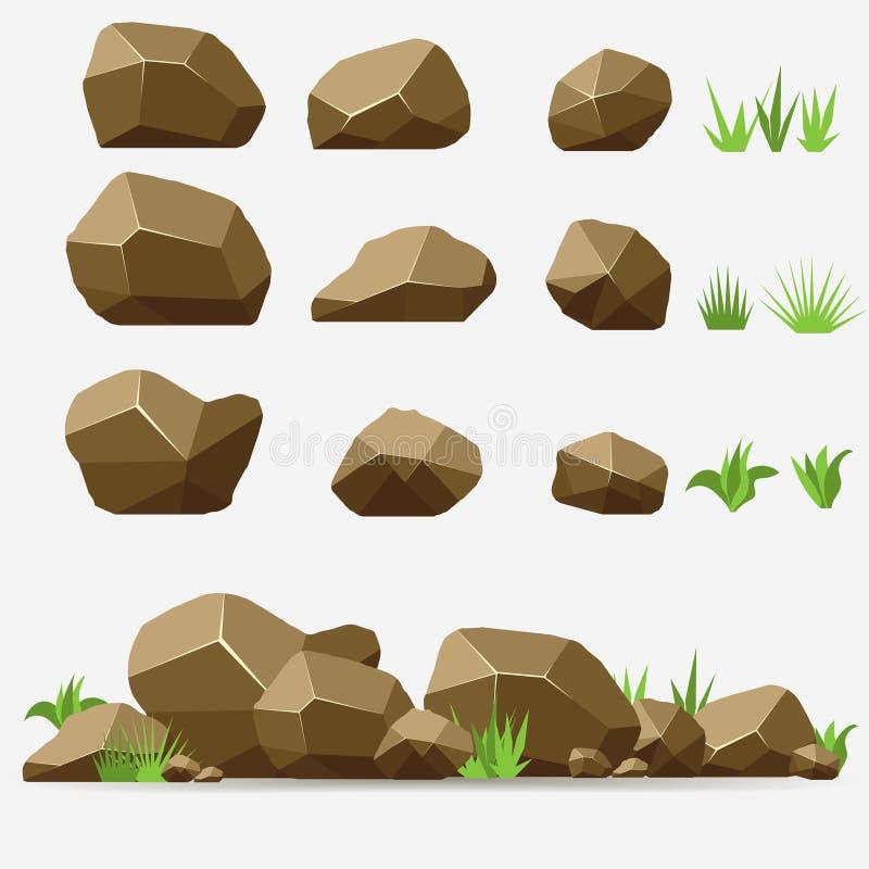 岩石石头集合 皇族释放例证