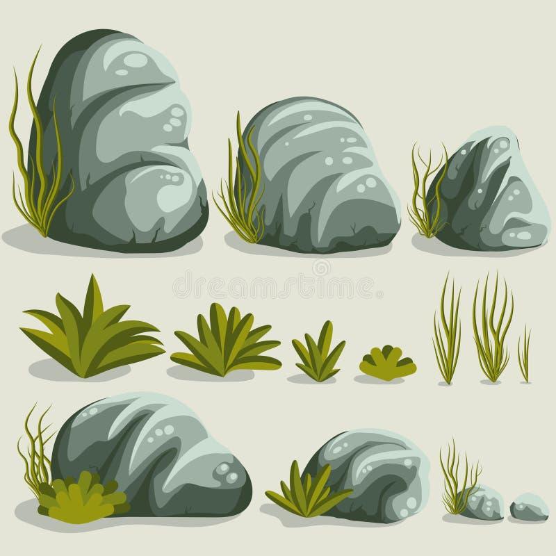 岩石石头集合 库存例证