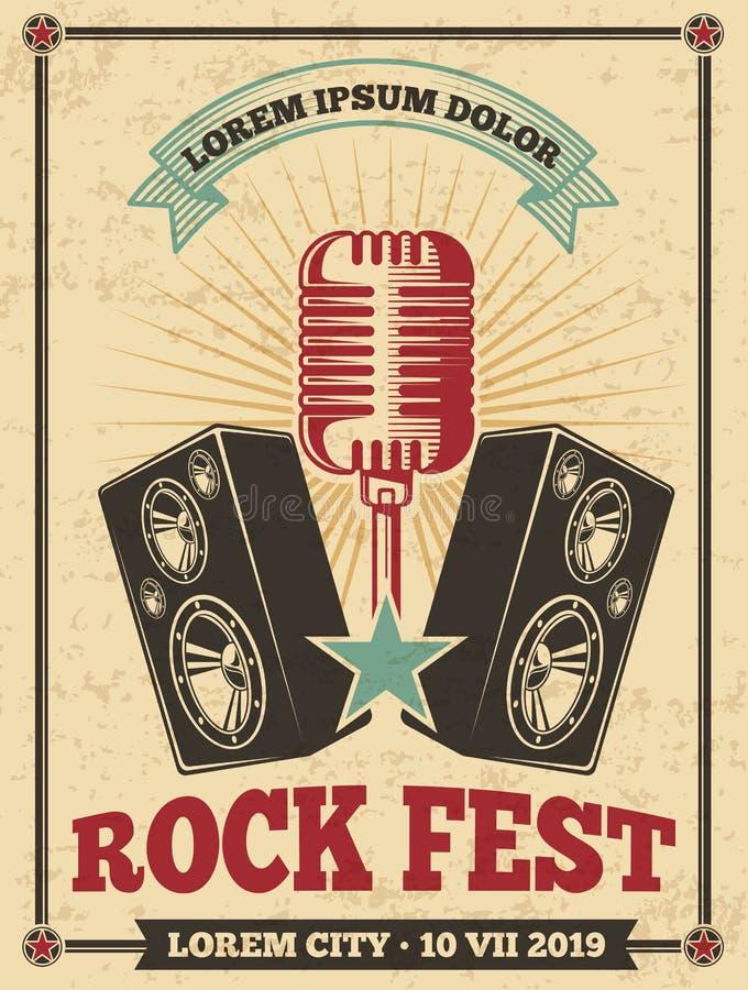 岩石节日葡萄酒传染媒介海报 摇滚乐音乐会减速火箭的背景 皇族释放例证