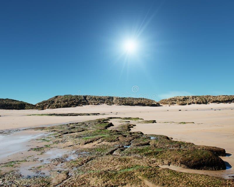 岩石诺森伯兰角风景 免版税库存图片