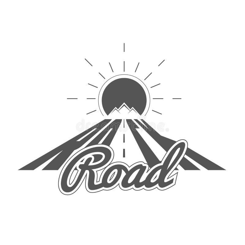 岩石路-高山冒险俱乐部传染媒介象征-象-印刷品-在葡萄酒黑白样式的徽章模板 库存例证