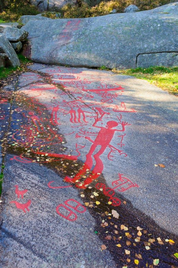岩石雕刻在Tanum 库存照片