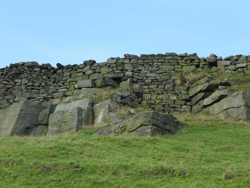 岩石露出和石墙在约克夏停泊 库存图片