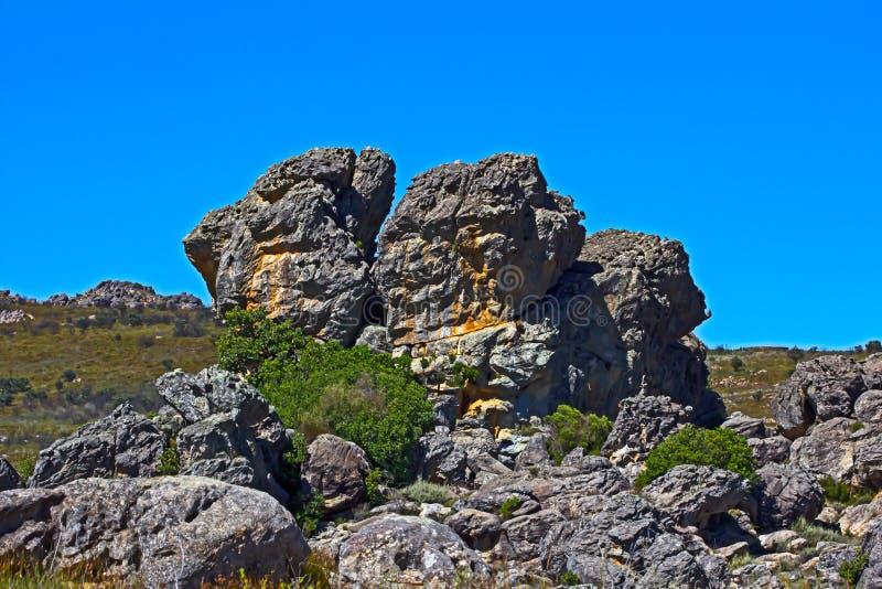 岩石露出在格鲁特Winterhoek自然保护区 免版税库存照片