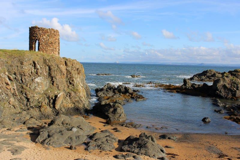 岩石,峡湾夫人Tower和低音,鼓笛 免版税库存照片