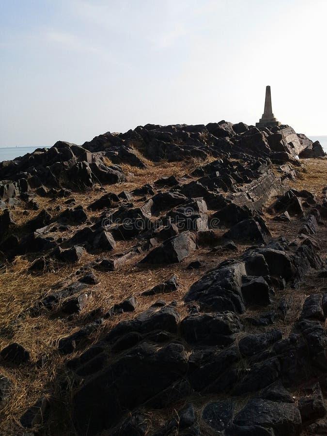 岩石临近Samila海滩,宋卡,泰国别针  免版税库存图片