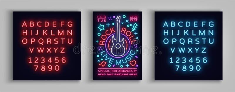 岩石n卷实况音乐 印刷术,在霓虹样式,霓虹灯广告,飞行物岩石节日的,音乐会设计模板的海报 皇族释放例证