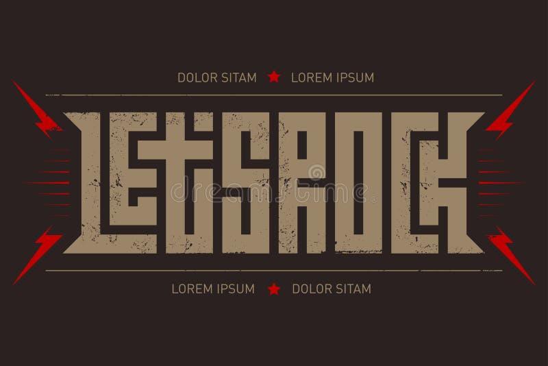 岩石T恤杉设计 让与红色的` s摇滚的音乐音乐会海报 库存例证