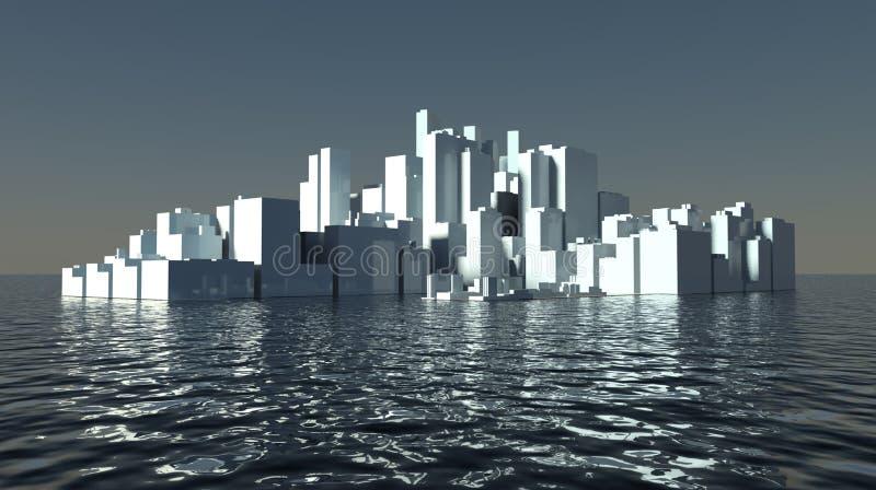 岸上城市将来的现代摩天大楼 皇族释放例证