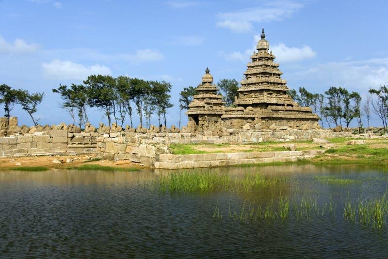 岸寺庙- Mamallapuram -泰米尔语Nadu -印度 库存照片