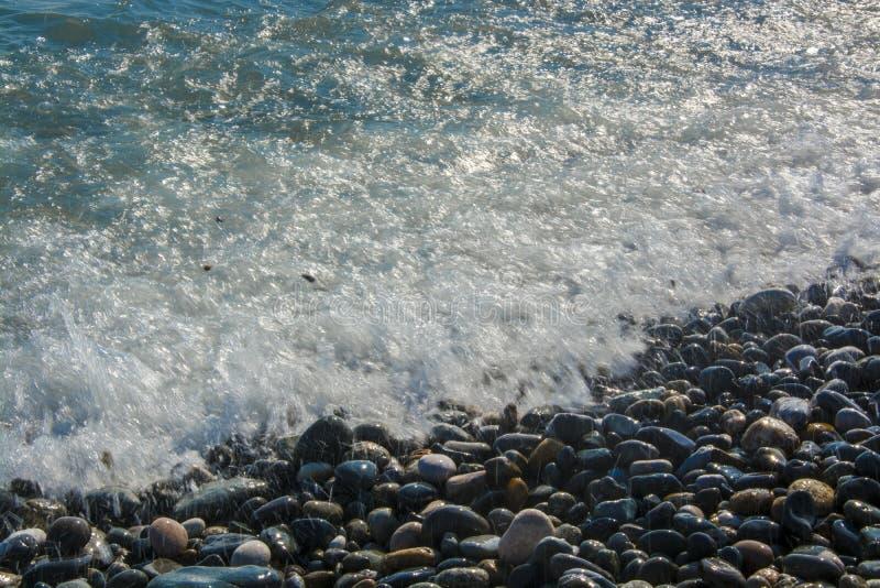 岸海浪石头夏天自由 库存照片
