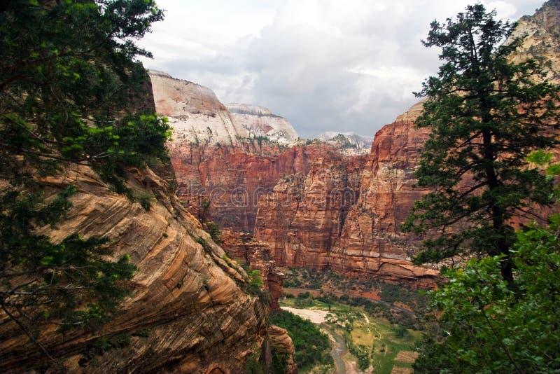 峡谷倾斜zion 库存图片