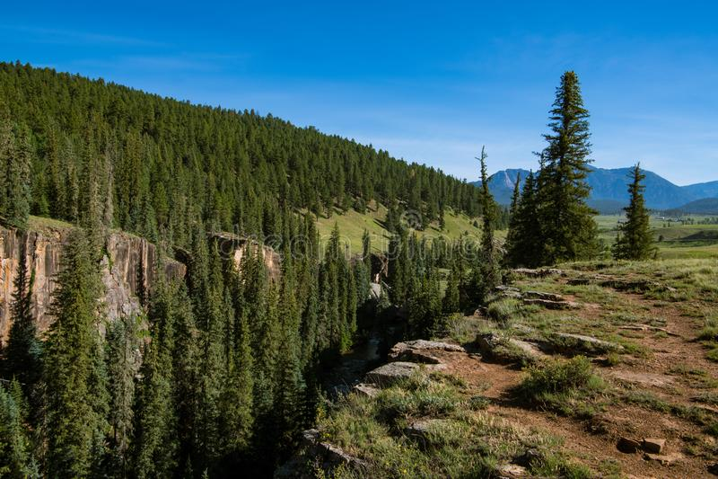 峡谷外缘和峭壁裁减通过风景通过树木丛生的小山和山 免版税库存照片