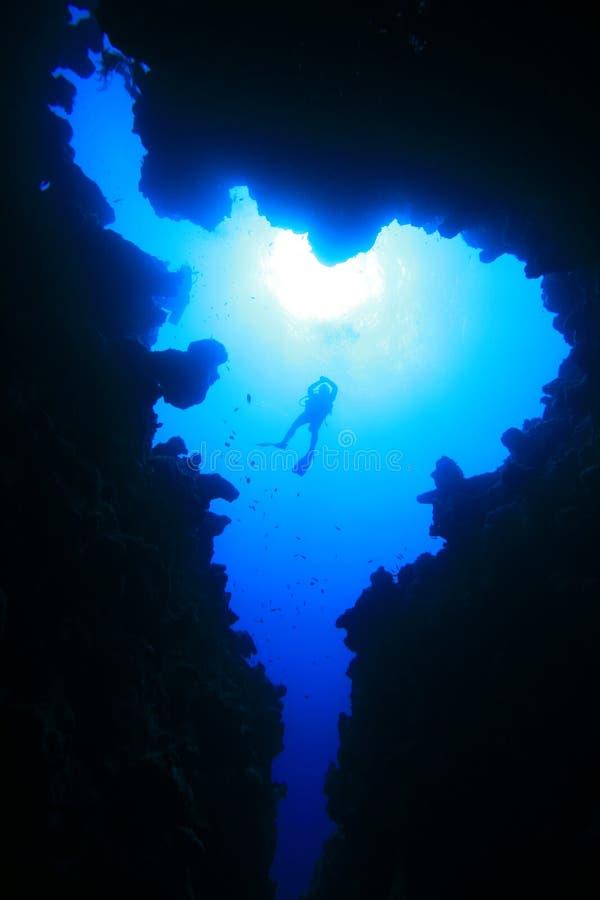 峡谷潜水员水肺 图库摄影