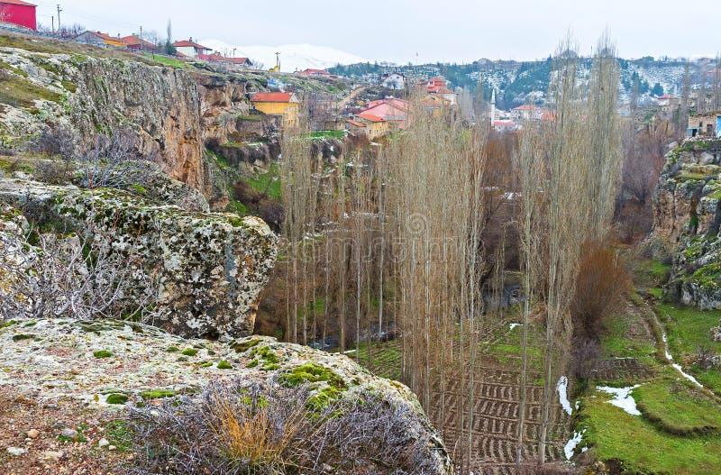 峡谷的岩石倾斜 库存图片