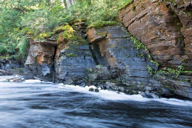 峡谷秋天,鲟鱼河,密执安 库存图片